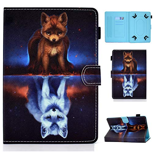 Universal Case for 9.1-10.1 inch Tablet,Cartoon Case for Multi-Angles,Card Slots for Huawei MediaPad T3 T5/M5 Lite 10,Fire HD 10,Galaxy Tab A 10.1/Tab E 9.6,Lenovo Tab10 TB-X103F (Fox)