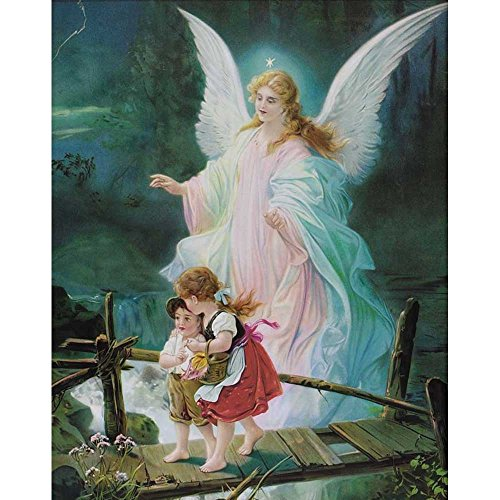 Dicksons Guardian Angel Watching Over Children Bright Blue 12 x 16 Wood Wall Sign Plaque