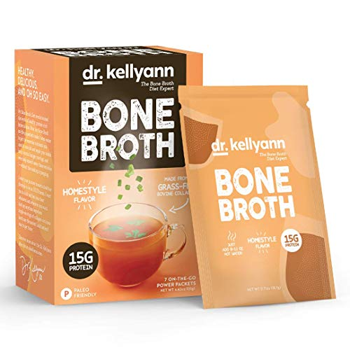 Dr. Kellyann Bone Broth Collagen Powder Packets (7 Servings, 1 Box), 100% Grass-Fed Hydrolyzed Collagen Powder for Keto, Paleo & Weight Loss Diets