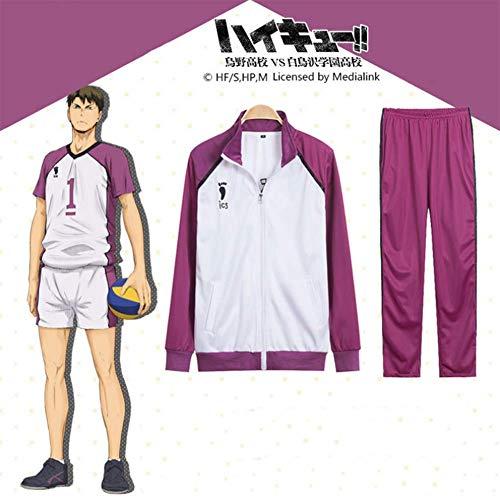 GGOODD Anime Haikyu Ushijima Wakatoshi Cosplay Costume Halloween Uniforme De La Escuela Secundaria Ropa Deportiva De Voleibol para Hombre Y Mujer,Purple,L