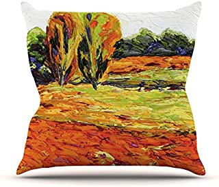 "KESS InHouse JF1001AOP03 18 x 18-Inch ""Jeff Ferst Summer Breeze Orange Foliage"" Outdoor Throw Cushion - Multi-Colour"