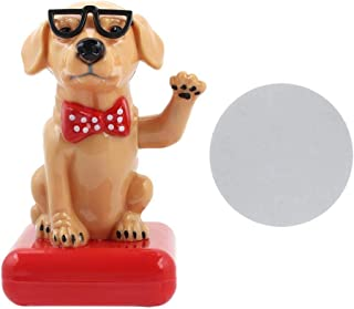 FTVOGUE Novelty Solar Powered Moving Toy Swing Waving Dog Figure Toy Kids Birthday Gift Car Home Decoration Table Ornament(01)