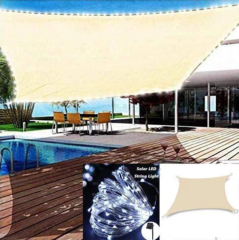 Vela De Sombra Rectangular con Luces Led Solar Toldo Vela Impermeable con Accesorios, Cuerda,Protección Solar Rayos UV,para Jardín Patio Terraza Balcón Exteriores,Beige-2X4m