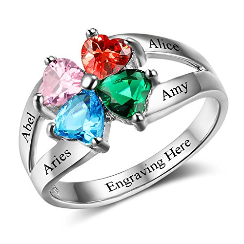 Personalized Mothers Ring with 4 Simulated Birthstones Engraved Names Family Rings Mom Jewelry for Women (10)
