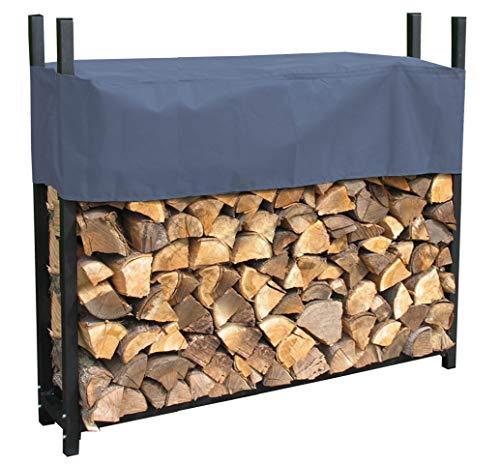 QUICK STAR Metall Kaminholzregal Anthrazit 113 x 25 x 115 cm Garten Kaminholzunterstand 0,5 m³ Stapelhilfe Aussen mit Schutzhülle Grau
