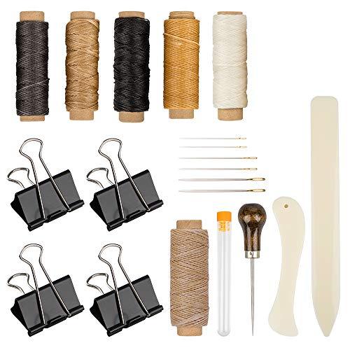 DaKuan - Set di 20 strumenti per rilegatura, raccoglitore per ossa cerata, filo di lino, manico in legno, con punta larga, per rilegature fatte a mano, fai da te