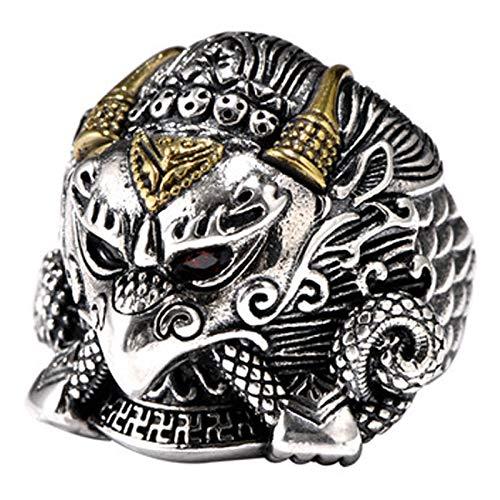 XIRENZHANG Anillo abierto de hombre de plata S925 con alas de oro, anillo de dapseng, retro, dominio de moda, personalidad masculina, anillo abierto con índice 20#