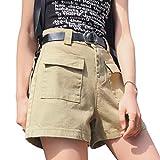 Pantalones Cortos de Mezclilla para Mujer Pantalones Cortos de Mezclilla Casuales de Cintura Alta con piernas Anchas Sueltas Pantalones Cortos de Mezclilla de Moda con múltiples Bolsillos XL