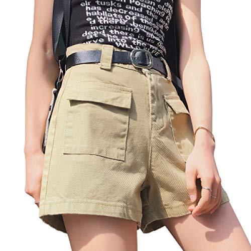 Pantalones Cortos para Mujer Moda Cintura Alta Suelta Moda Simple Multibolsillos Tendencia Todo-fósforo...