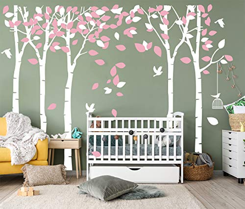 LUCKKYY Large Five Family Trees with Birds and Birdcage Tree Wall Decal Tree Wall Sticker Kids Room Nursery Bedroom Living Room Decoration (103.9x70.9) (Pink)