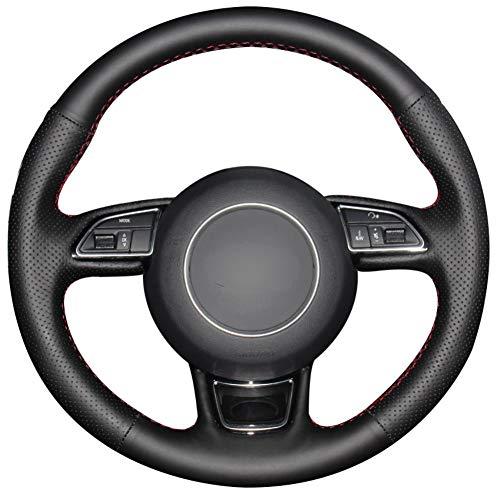 YHDNCG La Cubierta del Volante del Coche de Cuero Negro Cosida a Mano es Antideslizante y Resistente al Desgaste, para el Interior del Coche Audi A1 A3 A5 A7