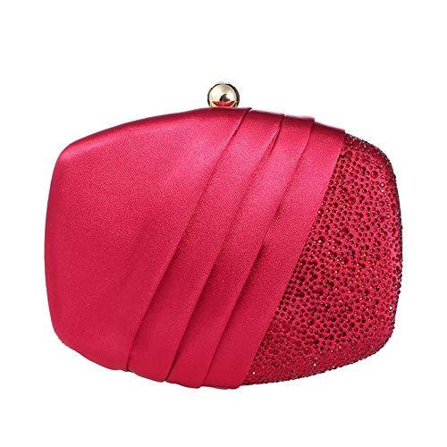 Bolso de Mano para Mujer Diamantes de imitación Plisados de Color sólido Bolso de Embrague de Noche Adornado Vestido de Noche de Boda Bolso de Banquete Hombro de Cadena MJZHXM (Color : Red)