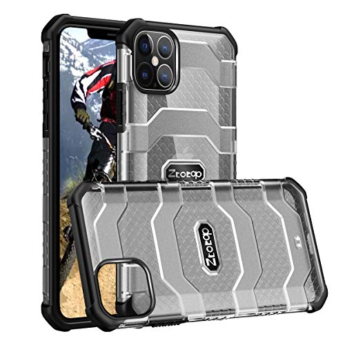 ZtotopCase Compatible with iPhone 12 Pro Case iPhone 12 Max Case 6.1 Inch 2020, [Military Grade Drop Test] Heavy Duty Shockproof Anti-Fall Translucent Cover, Black