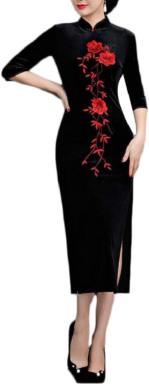 TDCACA Women Autumn 3 4 Sleeve Cheongsam Side Split Dress Velvet Qipao Dress