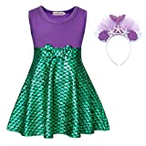 HenzWorld Little Girls Dresses Mermaid Costume Starfish Headband Princess Birthday Cosplay Party Outfit Clothes Set Kids 3T