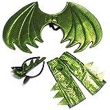 Amakando Lindo Set de Accesorios con alas de dragón, Guantes y Creta - Verde - Incomparable para pequeños lagartos y Dinosaurios - Insuperable para Fiestas Infantiles y Festival