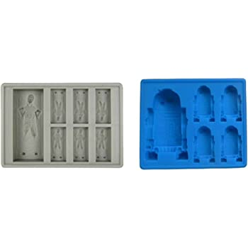 Set of 2 Star Wars Silicone Ice Trays / Chocolate Molds: Han Solo in Carbonite and R2-D2