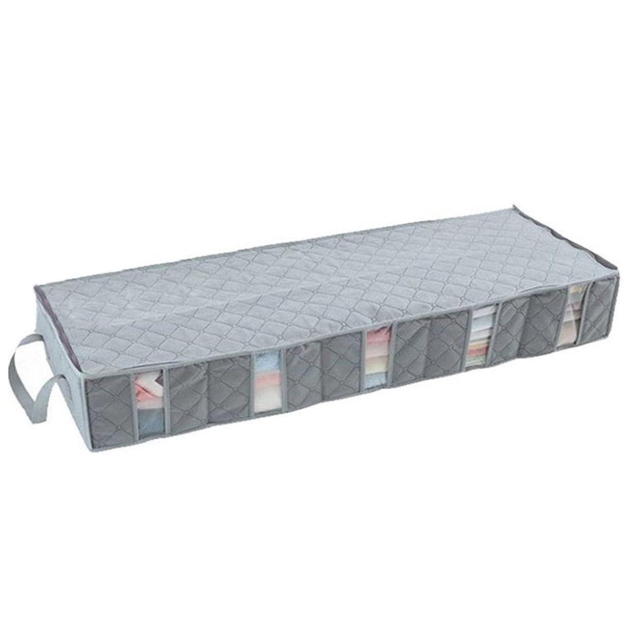 それから委任する損なうSUNKY ベッド下収納ボックス 衣類収納 竹炭 薄型収納ケース 消臭 整理袋 ベッド下収納袋 取っ手付き 幅100cm×奥行35cm×高さ15cm