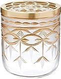Glass Arrangement Vase with Golden Lid - 6 inch