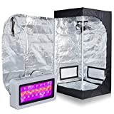PrimeGarden 24''X24''X48'' 600D Mylar Grow Tent + LED 300W Full Spectrum Grow Light Hydroponic Indoor Growing System Complete Package Grow Tent Kit (LED300W, 24''x24''x48'')