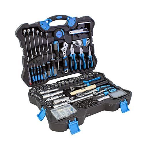 Karcher Werkzeugkoffer - 135-teiliges Werkzeugset aus Chrom Vanadium & Karbonstahl mit Hammer, Schraubendreher, Steckschlüssel, Bitsatz, Taschenlampe uvm.