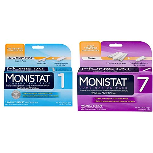 Monistat 1-Day Yeast Infection Treatment | Ovule + Itch Cream Combination Pack and Monistat 7-Day Yeast Infection Treatment | Cream + External Itch Relief Cream