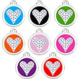 round Pet ID Tags with crystal heart in center