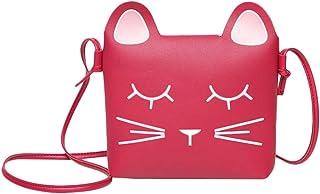 whatUneed Urocza torba na ramię dla dziewczynki torebka portfel, księżniczka mini kieszenie, Cat Cross Body Messenger Bag