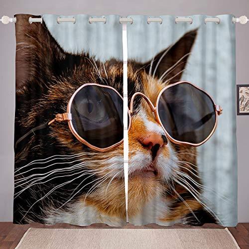 Cortinas para Ventana de Gatos Lindos Gatos de Mascotas, Cortinas de Dibujos Animados encantadores de Animales, Cortinas Divertidas con Gafas de Sol Redondas Cortina de Ventana de 46 x 72