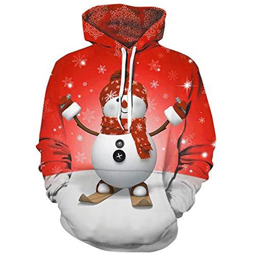Carprinass Unisex Snowman Hoodie Sweatshirt Christmas Pocketed Top Pullover Red L