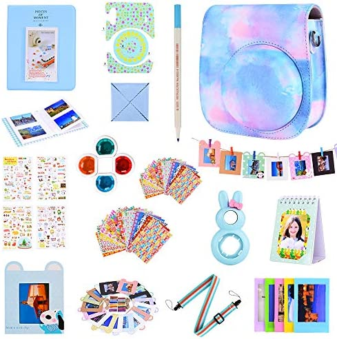 Bsuuy Instax Mini 11 Camera Accessories Compatible with FujiFilm Instax Mini 11 Camera. Including Mini 11 Camera Case, 64 Pocket Album, Four-Color Filter,etc. (Blue A 15 Items)