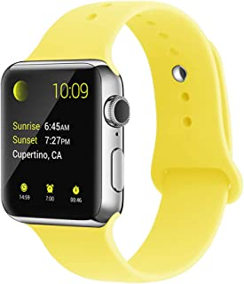 YunTree Compatible with Apple Watch Band 38mm/40mm M/L Size iWatch Sports Band Replacement for Women Man Apple Watch Series 4/3/2/1 Size Comfortable Silicone Strap-Yellow