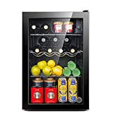 Enfriador de bebidas / Refrigerato de vino pequeño, Mini refrigerador Congelador compacto, 39Db, Congelado + Refrigerado, Iluminación LED, Puerta de vidrio Marco negro - Sala de estar, Minibar, Bodeg