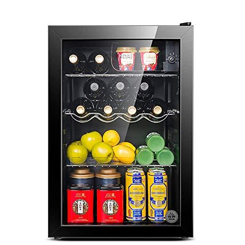 Beverage Cooler / Petit vin Refrigerato, Mini Réfrigérateur Congélateur Compact, 39dB, congelés + glacée, éclairage LED, Porte en verre Cadre Noir - Salon, Mini Bar, Cave à vin électrique 95 L 8bayfa