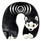 Neck Massager - Vibrating Body Massage - Neck Support - Pain Relief - Home, Office, Car - Plush Stuffed Animal (Husky)