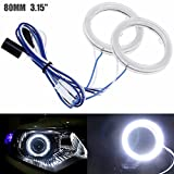 AMAZENAR 2-Pack Diametro Esterno 80MM 3.15', 12V Estremamente Luminoso Bianco COB Halo Circle Ring Light Head Angel Eye per Faro Moto Foglight Day Running Light DRL