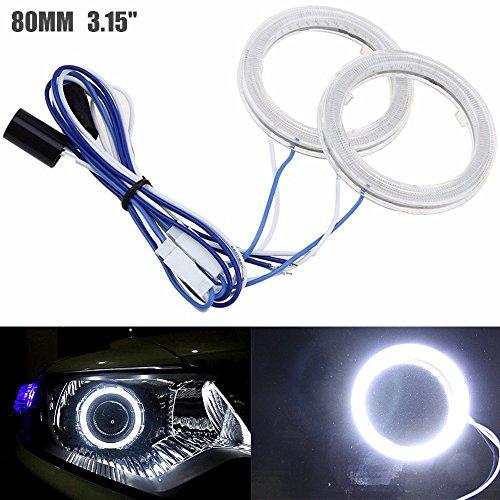 ALOPEE- 2-Pack Diametro Esterno 80MM 3.15', 12V Estremamente Luminoso Bianco COB Halo Circle Ring Light Head Angel Eye per Faro Moto Foglight Day Running Light DRL