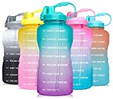 Venture Pal Large 1 Gallon/128 OZ (When Full) Motivational BPA Free Leakproof Water Bottle with Straw & Time Marker Perfect for Fitness Gym Camping Outdoor Sports-Green/Purple Gradient