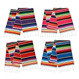 4 Pack Mexican Blankets, Mexican Tablecloth,Mexican Serape Blanket ,Mexican Tassel Serape Blanket, Serape Table Cover Picnic Mat, Mexican Table Runners, Mexican Party Decorations, 14×84 Inch
