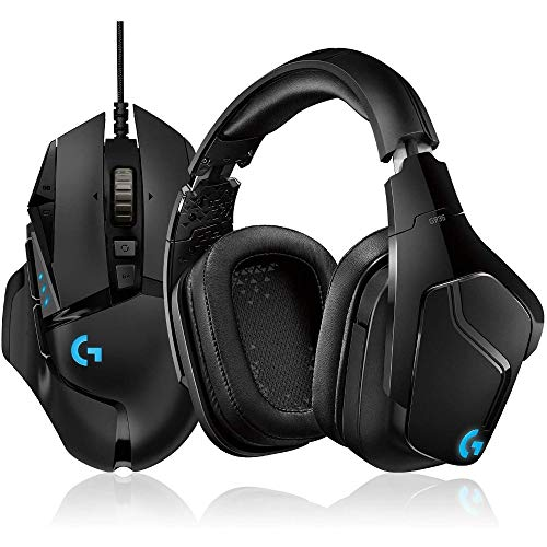 Logitech G502 Hero High-Performance Gaming Maus, Hero 16000 DPI Optischer Sensor, RGB-Beleuchtung, Gewichtstuning, 11 Programmierbare Tasten + G935 Kabelloses Gaming-Kopfhörer