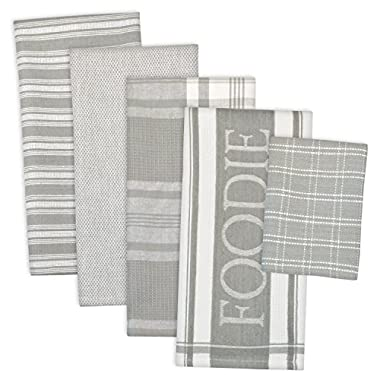DII Assorted Decorative Kitchen Dish Towels & Dish Cloth Foodie Set, Ultra Absorbent for Washing and Drying (Towels 18x28 & Cloths 13x13) Light Gray, Set of 5