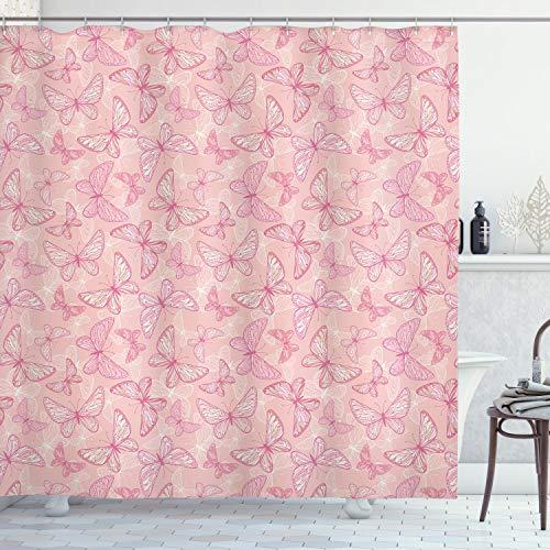 ABAKUHAUS Blasses Rosa Duschvorhang, Nette Schmetterlinge, Wasser Blickdicht inkl.12 Ringe Langhaltig Bakterie & Schimmel Resistent, 175 x 200 cm, Rosa Pfirsich weiß
