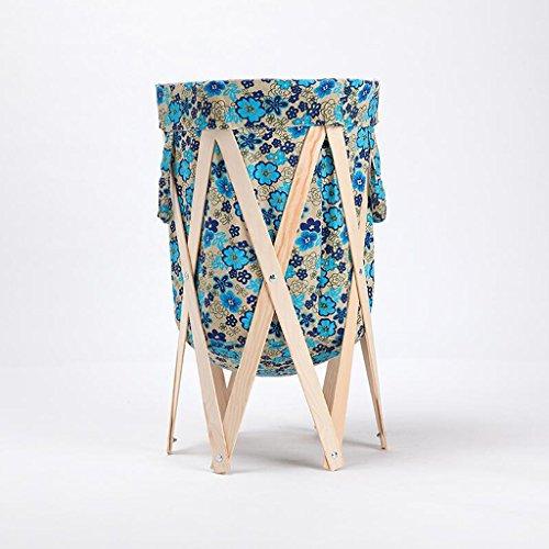 Motif floral vert et bleu Textile Stent de couleur en bois Changer les paniers de vêtements Corbeille de rangement Salle de bain en tissu avec panier à linge Plier le panier Rollsnownow