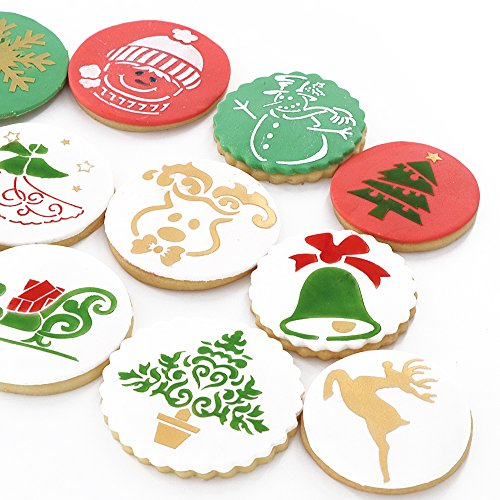 Christmas Cookie Stencils for Royal Icing, Food Decorating Stencils for Cookies, Biscuit Sugar Stencils Templates Baking Decorating Tools, 12-Pieces