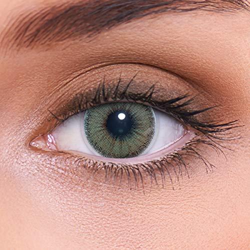 LENZOTICA Sehr stark natürlich deckende grüne Kontaktlinsen farbig NATURAL GREEN + Behälter von LENZOTICA I 1 Paar (2 Stück) I DIA 14.00 I ohne Stärke I 0.00 Dioptrien