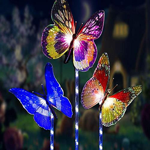 Luces solares para jardín, 3 unidades, para exteriores, luces de mariposa, multicolor, fibra de vidrio, decoración para fiestas, iluminación para avances, yardas, path, walkway