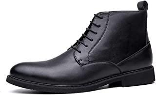 Sunny&Baby Ankle Boot for Men High Top Dress Shoes Lace up PU Leather Rubber Sole Round Toe Vegan Lightweight Anti-Skid Side Zipper Durable (Color : Black, Size : 8 UK)