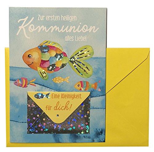 Glückwunschkarte Zur Kommunion Karte Geldgeschenk Grußkarte bunter Fisch