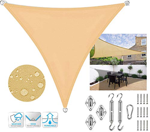 SUNDUXY Waterproof Sun Shade Sail Triangle Sand Color Canopy Cover Pergola Carport Awning UV Block Waterproof for Outdoor Patio Garden Carport with M8 Hardware Kit,3x3x4.5m/9.8'x9.8'x14.7'