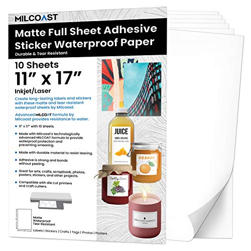 Milcoast Matte Full Sheet 11 x 17 inch Adhesive Tear Resistant Waterproof Photo Craft Paper - for Inkjet/Laser Printers - for Stickers, Labels, Scrapbooks, Bottles, Arts, Crafts (10 Sheets)